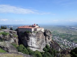 A monastery overlooking the town of Meteora, Greece