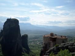 A monastery overlooking Meteora, Greece